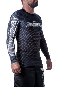Rash Guard Carbon Preta ML Camiseta Lycra StormStrong