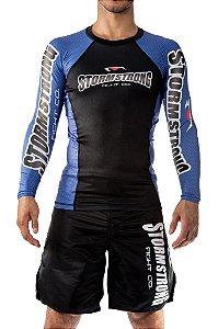 Rash Guard Oficial Azul ML Camiseta Lycra StormStrong