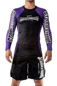 Rash Guard Oficial Roxa ML Camiseta Lycra StormStrong