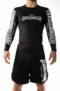 Rash Guard Oficial Preta ML Camiseta Lycra StormStrong