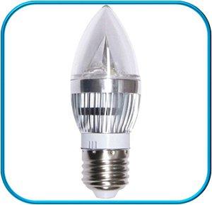 Lâmpada Vela Led Prata E27 3W - Branco Frio