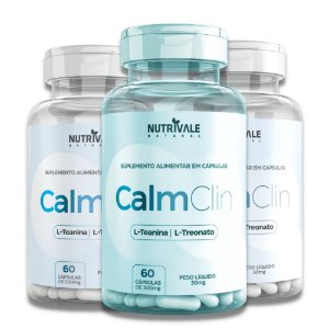 Kit com 3 - CalmClin (L-Teanina com L-Treonato) Nutrivale 180caps