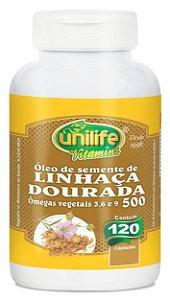 Oleo de Linhaça Dourada 120 cápsulas de 500mg - Unilife