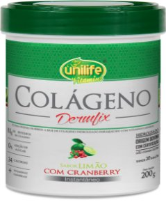 Colágeno Hidrolisado Dermfix em Pó 200g - Limão com Cranberry - Unilife