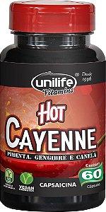 Canela, Gengibre e Pimenta Termogênico 60 cápsulas Hot Cayenne