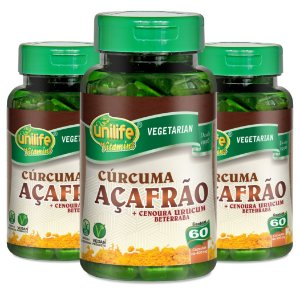 Kit com 3 Curcuma Açafrão - 180 caps - 400mg - Unilife