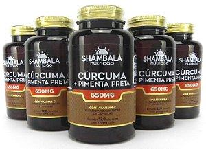 Kit com 5 Curcuma com Pimenta Preta em Pote 120 Caps cada – Shambala