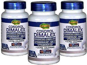 Kit com 3 Condrol Dimalex - D3, K2, Dimalato e Ultra Colágeno - Unilife 180 comprimidos