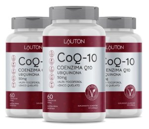 Kit com 3 Coenzima Q10 - 100mg - 180 Caps - Lauton