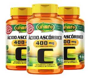 Kit com 3 Vitamina C 400mg - 540 Cápsulas - Unilife