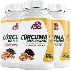 Kit com 3 Curcuma com Pimenta Preta - 360 caps - 650 mg - Shiva