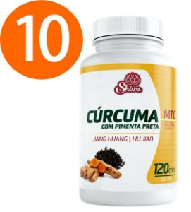 Kit Revenda com 10 Curcuma com Pimenta Preta - 650 mg - Shiva