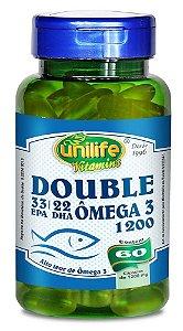 Double Ômega 3 - 33 EPA/22 DHA 1200mg 60 Cápsulas Unilife