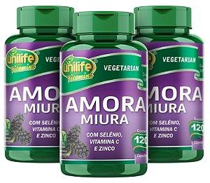 Amora Miura Mulberry - Kit com 3 - 360 caps - Unilife