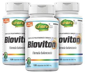 Bioviton Polivitamínico - Kit com 3 - 360 cápsulas - Unilife