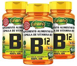 CianoCobalamina B12 Vitamina - Kit com 3 - 180 caps - Unilife