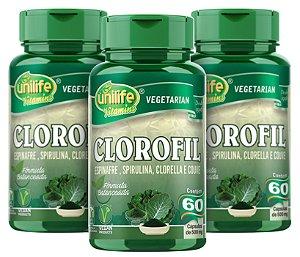 Clorofil - Espinafre, Spirulina, Clorella e Couve - Kit com 3 - 180 Cápsulas  Unilife
