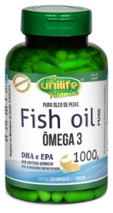 Omega 3 Fish Oil Puro (1000mg) Unilife - 120 Cápsulas