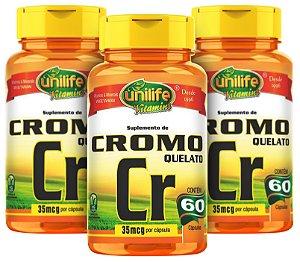 Cromo Quelato Cr - Kit com 3 - 180 Cápsulas - Unilife