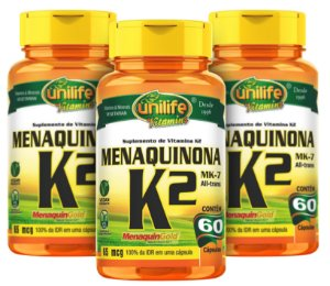 Menaquinona k2-Mk7 - Kit com 3 - 180 caps (500mg) - Unilife