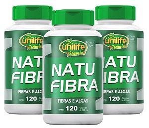 Natu Fibras e Algas Emagrecedor - Kit com 3 - 360 caps 600mg Unilife