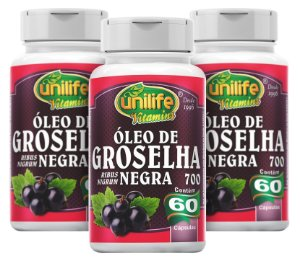 Óleo de Groselha Negra - Kit com 3 - 180 Caps de (700mg) - Unilife