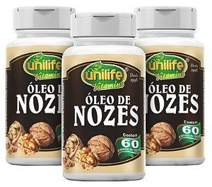 Oleo de Nozes - Kit com 3 - 180 capsulas (1200mg) - Unilife