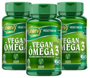 Omega 3 Vegan - Kit com 3 - 180 Caps - Unilife