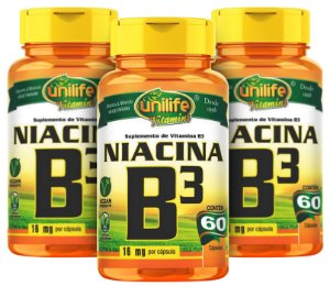 Vitamina B3 Niacina - Kit com 3 - 180 Caps (500mg) - Unilife