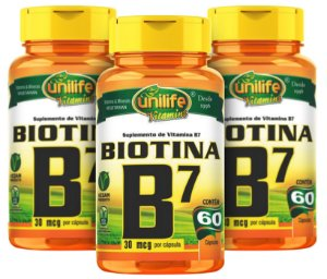 Vitamina B7 Biotina - Kit com 3 - 180 Caps (500mg) - Unilife