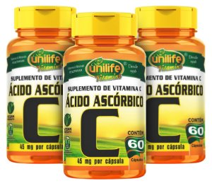 Vitamina C Ácido Ascórbico - Kit com 3 - 180 Caps (500mg) - Unilife