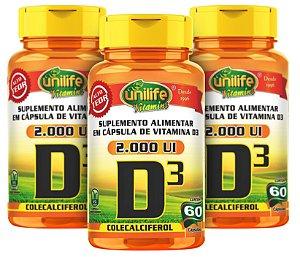 Vitamina D3 - Kit com 3 - 180 Caps (470mg) Colecalciferol - Unilife