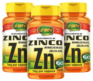 Zinco ZN Quelato - Kit com 3 -  180 Caps (500mg) - Unilife