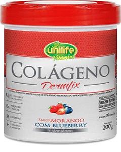 Colágeno Dermfix em Pó Morango com Blueberry 200g