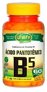 Vitamina B5 Ácido Pantotênico 60 Cápsulas (500mg) - Unilife