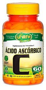 Vitamina C  Ácido Ascórbico  60 cáps (500mg) - Unilife