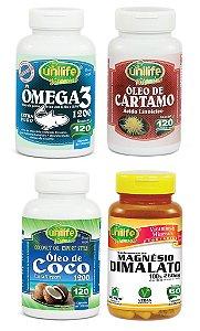 Kit Quarteto Saúde Unilife: 1 omega3 + 1 Cartamo + 1 Oleo de Coco + 1 Dimalato