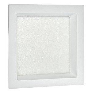 Luminária Plafon 12W LED de Embutir Recuado Quadrado Branco Quente