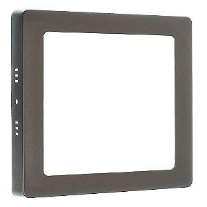 Luminária Plafon 12w LED Sobrepor Quadrado Branco Frio Marrom