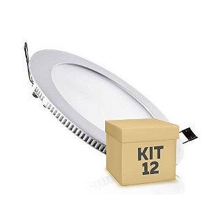 Kit 12 Luminária Plafon 18w LED Embutir Branco Frio