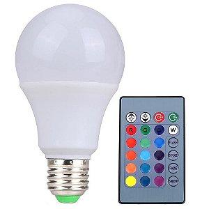 Lâmpada LED Bulbo 9W E27 Bivolt RGB com Controle | Inmetro