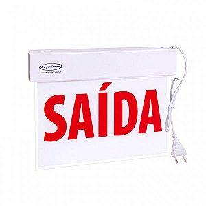 Sinalizacao Saida LED SLIM FU Vermelha com Seletor 24x18