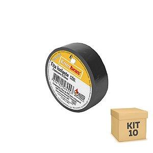 Kit 10 Fita Isolante 3M 10 Metros 18mm Preta