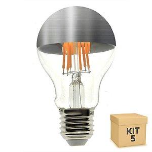 Kit 5 Lâmpada LED Defletora Vintage 4W A19 Branco Quente