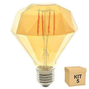 Kit 5 Lâmpada LED Diamante Vintage 4w D95 Branco Quente