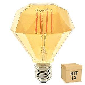 Kit 12 Lâmpada LED Diamante Vintage 4w D95 Branco Quente