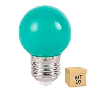 Kit 10 Lâmpada LED Bolinha 1w Verde | Inmetro