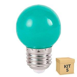 Kit 5 Lâmpada LED Bolinha 1w Verde   Inmetro