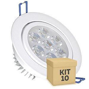 Kit 10 Spot Dicróica 7w LED Direcionável Corpo Branco