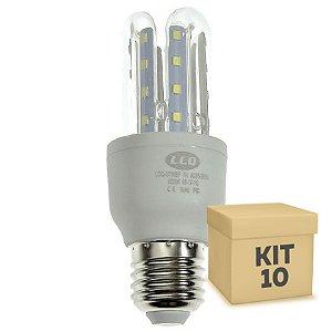 Kit 10 Lâmpada LED Milho 3U E27 7W Branco Frio | Inmetro